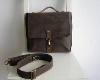 Dark Brown Vegan Leather Satchel / handbag / messenger
