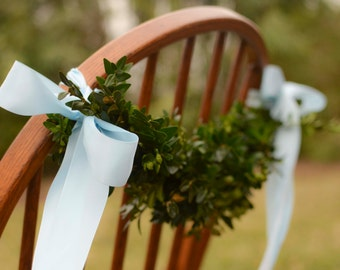 Chair back fresh boxwood swag, chair decor, Christmas table, wedding roping, wedding garland, wedding decoration, reception decor