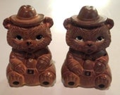 Vintage Smokey The Bear Salt & Pepper Shakers - Made In Japan - Bear Salt Shaker - Bear Pepper Shaker - Smokey The Bear - Forest Fire