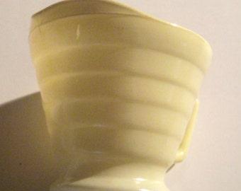 Vintage Creamer - Art Deco Style Creamer - Tiered Yellow Creamer - Milk Glass Creamer - Small Creamer