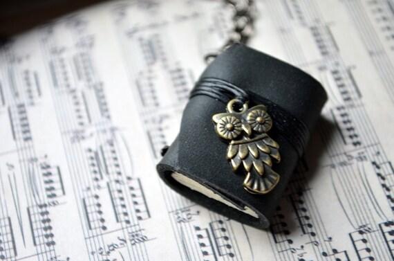 OWL MiniatureBook Necklace