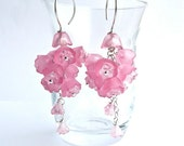 Rosa Ballerina -- Pink Flower Long Dangling Earrings