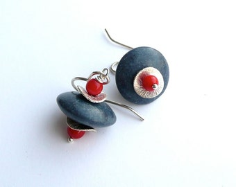 Stark -- Denim Blue and Red Coral and Sterling Silver Dangling Earrings