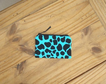 Giraffe Print on Turquoise Zippered Pouch - Credit Card Size