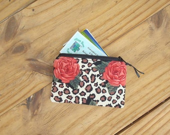 Roses on a Leopard Print Zippered Pouch - Credit Card Size