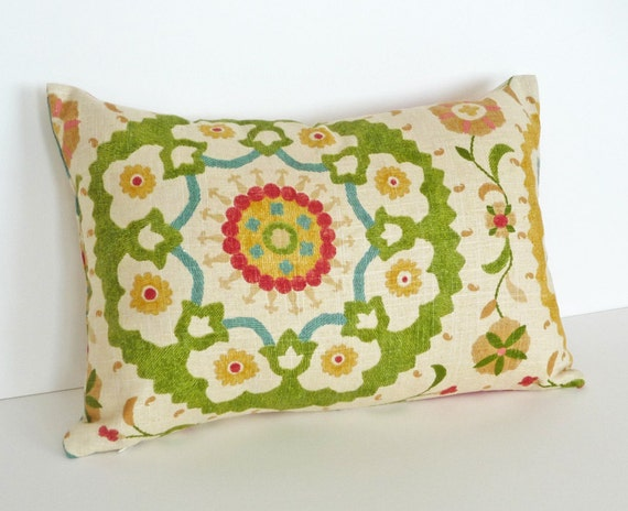 Colorful Suzani Pillow, Large Medallions, 12x18 Lumbar Cushion, Turquoise Blue Cream Red Green, Decorative Pillow SALE