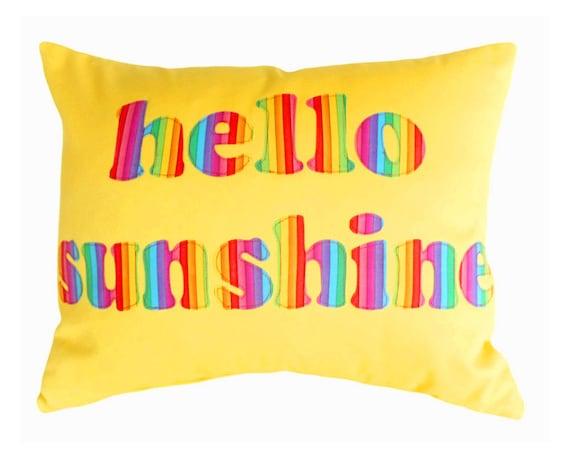 HELLO SUNSHINE, Colorful Word Pillow, Yellow Cushion Cover, Appliqued Text, Rainbow, Dorm Decor, Kids, Babies, Girls, Fun Gift 16x20