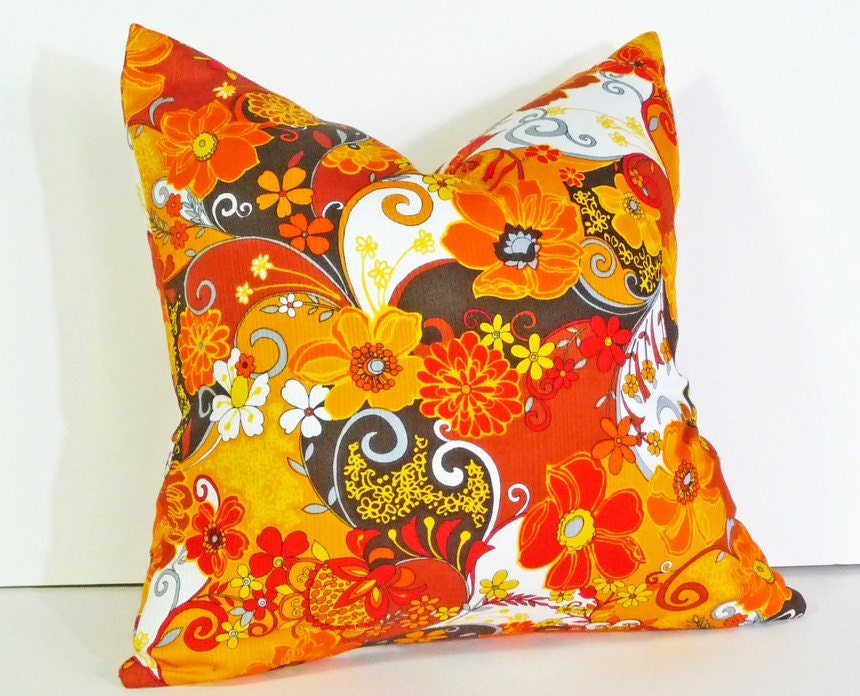 Retro Pillows Bright Colors Colorful 70s Style Floral