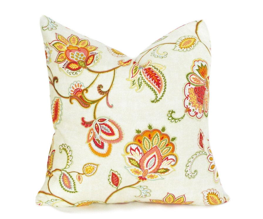 Jacobean Floral Pillow Decorative Throw Pillow Summer Toss