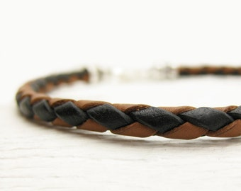 Eco Friendly Leather Braided Bolo Unisex Bracelet / Coffee Brown and Black with Sterling Silver Men's Bracelet / man guy dude rustic bangle