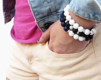 Nautical Jade Onyx Bead Bracelet Set in Sterling Silver / Navy Black White Bracelets / night sea rain ocean sail inspired / color block