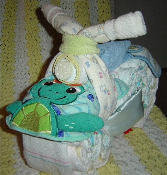 motorcycle diaper cake baby shower gift by craftticlecreation