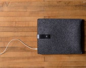iPad Air Sleeve - Charcoal Wool Felt with Black Leather