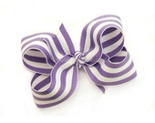 Lavender Striped Hair Bow, 3 inch Boutique Bow, Lavender, White Cabana Stripes, Preppy Baby Toddler Girl Hairbow Pantone African Violet