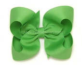 Pure Green Hair Bow, 4 inch Boutique Bow, Grass Green Hairbow, Basic Hair Bows for Toddlers, Girls, Babies, Grosgrain Hairbow