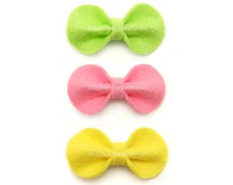 Felt Hair Bows for Baby, Spring Hair Bows, Apple Green, Pink, Yellow, No Slip Baby Snap Clip, 2 inch Bow, Felt Bow Set of 3, Toddlers