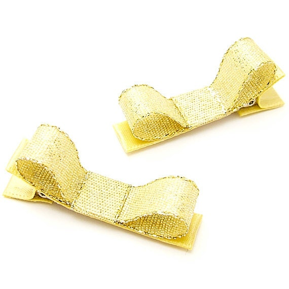 Metallic Gold Hair Clips, Gold Glitter Tuxedo Bows, Winter, Holiday, Special Occasion, Ready to Ship Gold Metallic Clips, Baby Toddler Girls