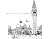 San Marco square, Venice, VENEZIA ITALY-  CLING rubber stamp by Cherry Pie Art Stamps