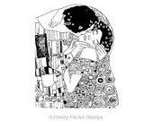 The KISS by Gustav Klimt - CLiNG Rubber STAMP by Cherry Pie Art Stamps