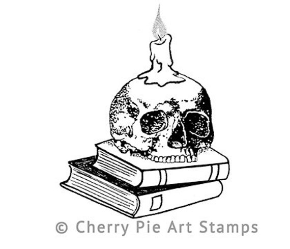 SKULL Candle holder on BOOKS- CLinG StAmP by Cherry Pie Art Stamps