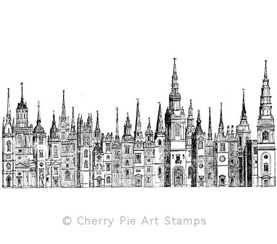 Old LONDON City- CLING RuBBer STAMP for acrylic block by Cherry Pie Art Stamps