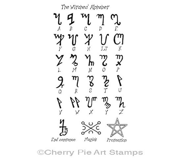 The Witches Alphabet (Theban)- CLING rubber STAMP by Cherry Pie Art Stamps