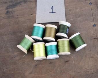 Lot 1 vintage thread- Green