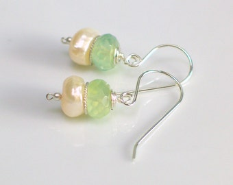 Prehnite and Pearl Drop Earrings, Large Baroque Pearls with Faceted Pale Green Prehnite, Semi Precious Stone and Freshwater Pearl Earrings
