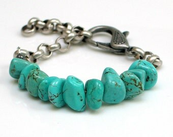 Turquoise Bracelet, Large Raw Stone Nuggets Bold Chain Statement Cuff, Fully Adjustable, Original Design Artisan Handmade, Stacked Stones