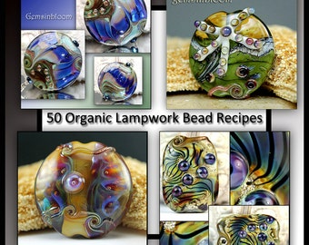 Gemsinbloom 50 Lampwork Organic Bead Recipes - Instant Download Lampwork Tutorial Instruction PDF