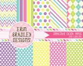 Digital Paper Pack Springtime Medley Polka Dots Stripes and Chevron Commercial Use & Instant Download