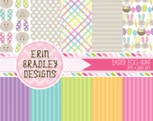 Easter Digital Paper Pack Bunnies Eggs and Stripes Commercial Use & Instant Download