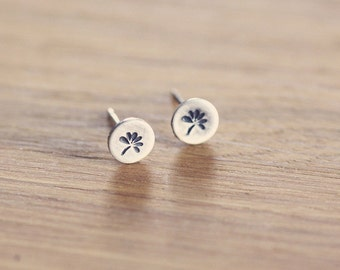 Tiny studs - posts - earrings - sterling silver - flowers - stamped - etsymetal team