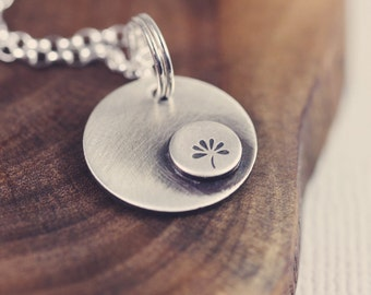 Bloom necklace, sterling silver, small, flower,