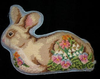 Needlepointed Bunny Rabbit Pillow Spring Floral.  Lovely for the Season.