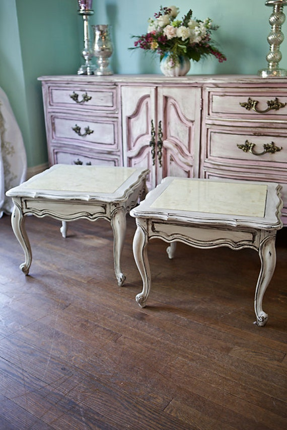 Pair French End Table S Shabby Chic Marble Vintage Off White