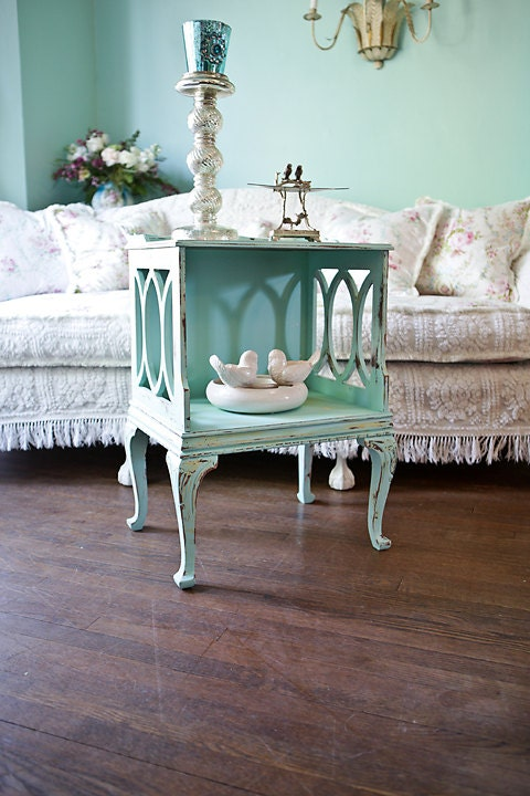 Vintage Shabby Chic Nightstand End Table By