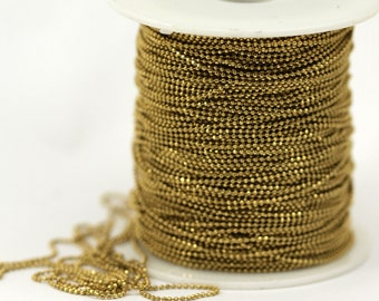 Raw Brass Chain, 10 M. 1 Mm Raw Brass Faceted Ball Chain - Brs 4 ( Z006 )