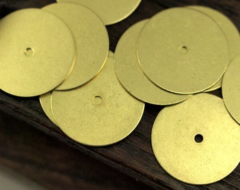 Middle Hole Connector, 50 Raw Brass Round Disc, Middle Hole Connector, Bead Caps, Findings (12mm) Brs 70 A0444