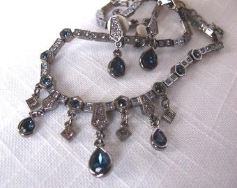 Vintage Art Deco Choker Statement Necklace Earring Set,Swarowski Crystal Necklace Set,Edwardian Style,Vintage Estate Earrings,1920 Style,511