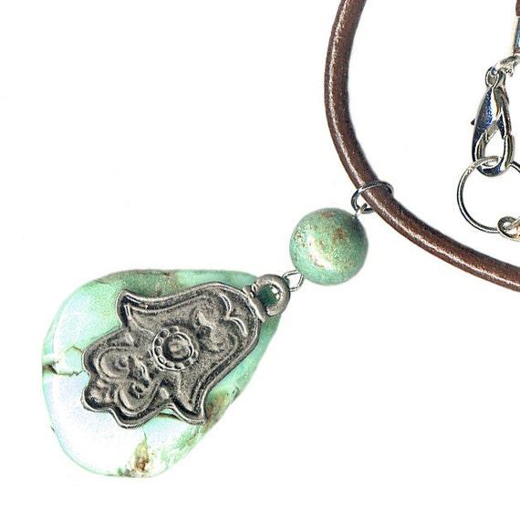 pewter Hamsa chrysoprase turquoise leather unisex necklace