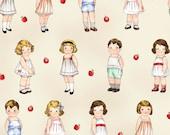 fabric PAPER DOLLS School House 803-24 32 | Newcastle Fabrics + Sibling Arts Studio | apples | 8-inch Paper Dolls | quiet play patterns