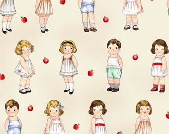 FaBriC PAPER DOLLS School House, 803-24 32 Dolls, Newcastle, Sibling Arts Studio - ToP QUALITY Cotton