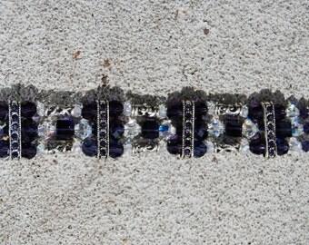 Purple Velvet Swarovski Triple bracelet