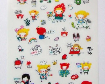 Cute Pippi Princess Girl Plastic Stickers From Korea - Cat, Kitten, Snow White, Coffee, Turtle, Car, Cook, Chef, Rocking Horse, Cinderella