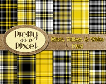 Printable Scrapbook Paper - Black, Yellow, & White Plaid - 12 x 12 - Set of 12 - INSTANT DOWNLOAD