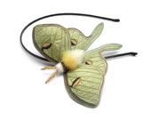 Luna Moth Headband- Your Choice of Headband, Clip, or Brooch- An Embroidered Fascinator- Celery Green