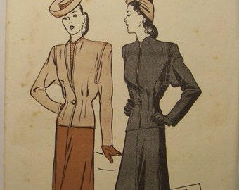 1945 Classic two piece suit pattern, Butterick 3519 Lovely Waist darts Peplum Jacket One button closing 4 gore skirt Bust 36 Vintage