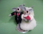Wedding Mice Wool Felted Bride and Groom - NEW for 2013