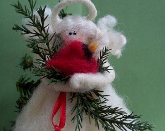 """Miniature Wool (4"""") Treetop Angel or Ornament with Wool Cardinal"""